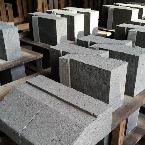 Picture of concrete window sill blocks made in a precast concrete block mould